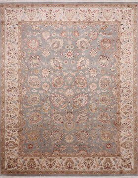 Indian Jaipur Blue Rectangle 8x10 ft Wool and Raised Silk Carpet 145349