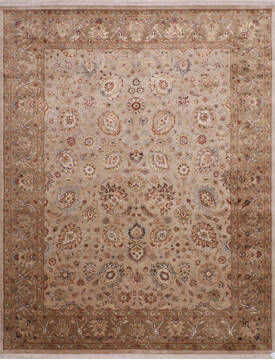 Indian Jaipur Beige Rectangle 8x10 ft Wool and Raised Silk Carpet 145352