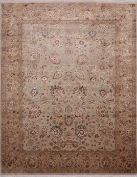 Indian Jaipur White Rectangle 8x10 ft Wool and Raised Silk Carpet 145355