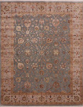 Indian Jaipur Blue Rectangle 8x10 ft Wool and Raised Silk Carpet 145357