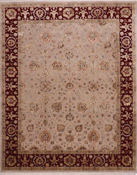 Indian Jaipur Beige Rectangle 8x10 ft Wool and Raised Silk Carpet 145359