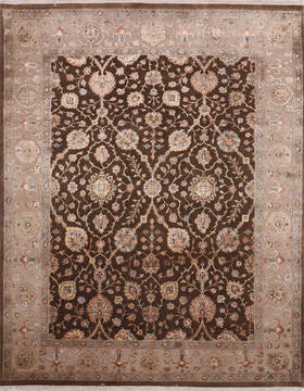 Indian Jaipur Brown Rectangle 8x10 ft Wool and Raised Silk Carpet 145360
