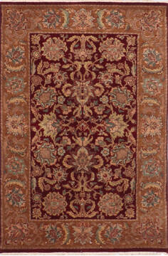 "Jaipur Red Hand Knotted 4'1"" X 6'2""  Area Rug 905-145367"