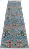 Chobi Blue Runner Hand Knotted 25 X 97  Area Rug 700-145388 Thumb 1
