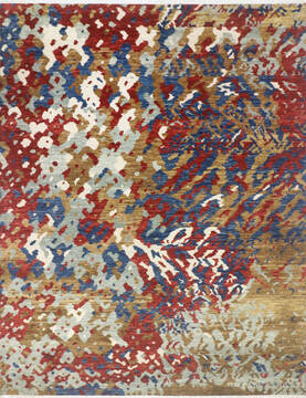 Indian Modern-Contemporary Multicolor Rectangle 9x12 ft Wool and Cotton Carpet 145446