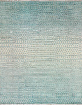 Indian Modern-Contemporary Blue Rectangle 8x10 ft Wool and Cotton Carpet 145452