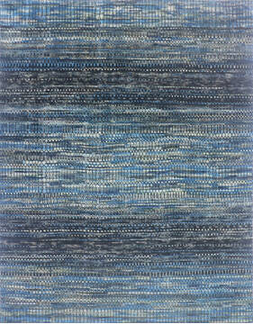"Modern-Contemporary Multicolor Hand Knotted 7'10"" X 9'11""  Area Rug 904-145454"