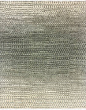 "Modern-Contemporary Green Hand Knotted 8'2"" X 10'6""  Area Rug 904-145460"