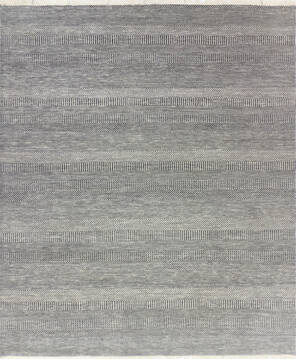 "Modern-Contemporary Grey Hand Knotted 8'1"" X 9'8""  Area Rug 904-145468"