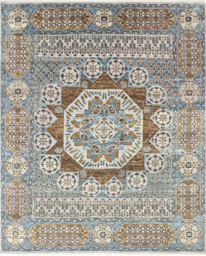Indian Mamluk Multicolor Rectangle 8x10 ft Wool and Cotton Carpet 145472