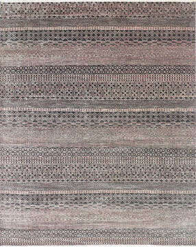 "Modern-Contemporary Black Hand Knotted 7'10"" X 9'10""  Area Rug 904-145474"