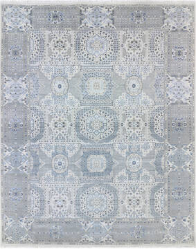 Indian Mamluk Blue Rectangle 10x14 ft Wool and Viscose Carpet 145477