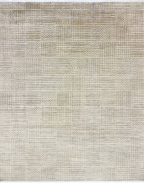 "Modern-Contemporary Grey Hand Knotted 8'10"" X 12'4""  Area Rug 904-145478"