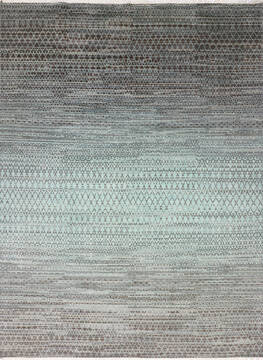 "Modern-Contemporary Blue Hand Knotted 8'11"" X 12'2""  Area Rug 904-145479"
