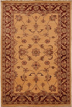 "Chobi Yellow Hand Knotted 4'0"" X 5'10""  Area Rug 100-15070"
