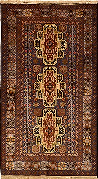 "Baluch Brown Hand Knotted 3'8"" X 6'6""  Area Rug 100-15098"