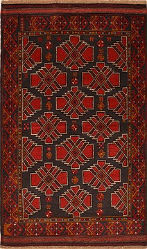 Afghan Baluch Black Rectangle 3x5 ft Wool Carpet 15119