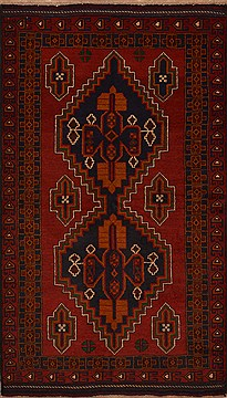 Afghan Baluch Red Rectangle 4x6 ft Wool Carpet 15151