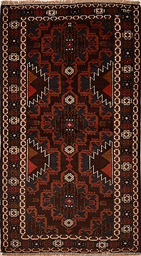 Afghan Baluch Brown Rectangle 3x5 ft Wool Carpet 15161