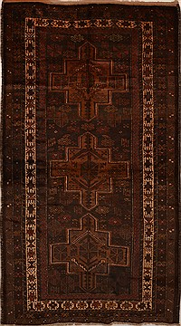 Afghan Baluch Brown Rectangle 5x7 ft Wool Carpet 15169