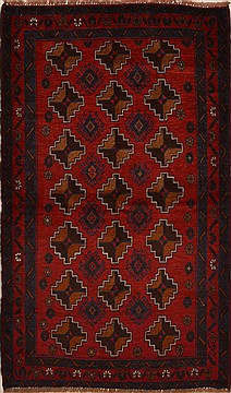 Afghan Baluch Red Rectangle 4x6 ft Wool Carpet 15179