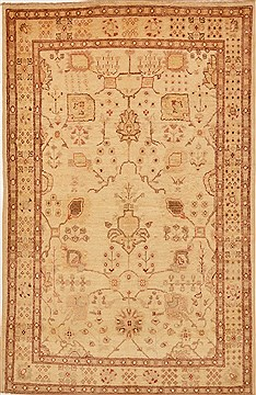 Pakistani Chobi Beige Rectangle 4x6 ft Wool Carpet 15193