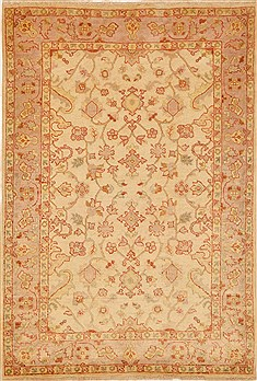 Pakistani Chobi Beige Rectangle 4x6 ft Wool Carpet 15198