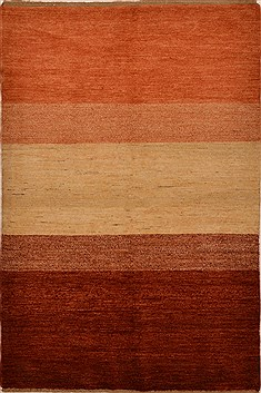 "Gabbeh Orange Hand Knotted 4'2"" X 6'2""  Area Rug 100-15206"