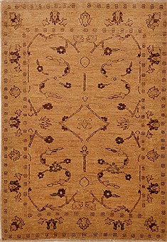 Pakistani Chobi Beige Rectangle 4x6 ft Wool Carpet 15216