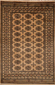 Pakistani Bokhara Beige Rectangle 4x6 ft Wool Carpet 15220