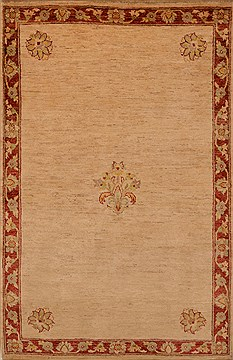Pakistani Chobi Beige Rectangle 4x6 ft Wool Carpet 15225
