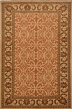 Pakistani Chobi Beige Rectangle 4x6 ft Wool Carpet 15226