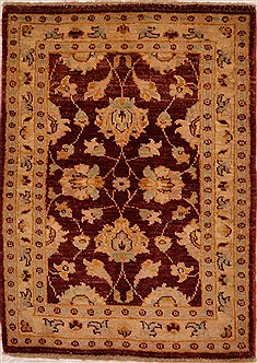 Afghan Chobi Red Rectangle 2x3 ft Wool Carpet 15348