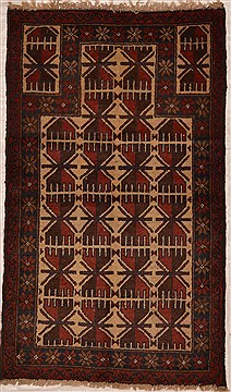 Afghan Baluch Beige Rectangle 3x5 ft Wool Carpet 15368