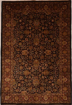"Jaipur Black Hand Knotted 6'0"" X 9'0""  Area Rug 100-15442"