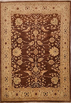 Pakistani Chobi Brown Rectangle 6x9 ft Wool Carpet 15448