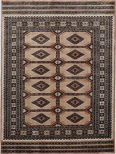 Pakistani Bokhara Beige Rectangle 4x6 ft Wool Carpet 15498