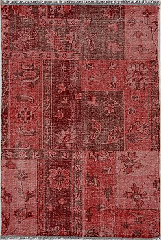 "Patchwork Purple Hand Knotted 4'0"" X 5'11""  Area Rug 100-15511"