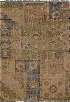 "Patchwork Green Hand Knotted 4'4"" X 6'1""  Area Rug 100-15559"
