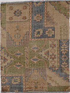 "Patchwork Green Hand Knotted 4'4"" X 6'1""  Area Rug 100-15560"