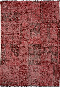 "Patchwork Purple Hand Knotted 6'0"" X 8'11""  Area Rug 100-15561"