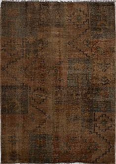 "Patchwork Green Hand Knotted 6'1"" X 8'10""  Area Rug 100-15562"