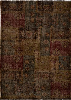 "Patchwork Multicolor Hand Knotted 5'11"" X 9'1""  Area Rug 100-15563"
