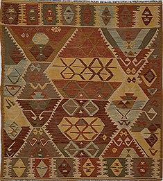 "Afghan Kilim  Wool Multi-Color Area Rug  (6'6"" x 7'3"") - 103 - 15567"