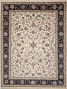 "Kashan White Hand Knotted 8'11"" X 12'2""  Area Rug 100-15616"