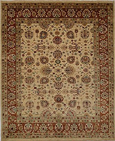 Pakistani Chobi Beige Rectangle 8x10 ft Wool Carpet 15628
