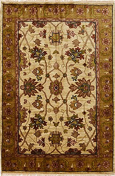 "Jaipur Beige Hand Knotted 4'1"" X 6'1""  Area Rug 100-15632"
