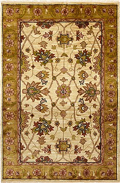 "Jaipur Beige Hand Knotted 4'0"" X 5'11""  Area Rug 100-15635"