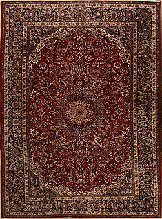 Persian Najaf-abad Red Rectangle 11x16 ft Wool Carpet 15666