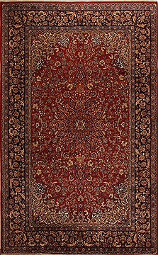 Persian Najaf-abad Red Rectangle 11x16 ft Wool Carpet 15672